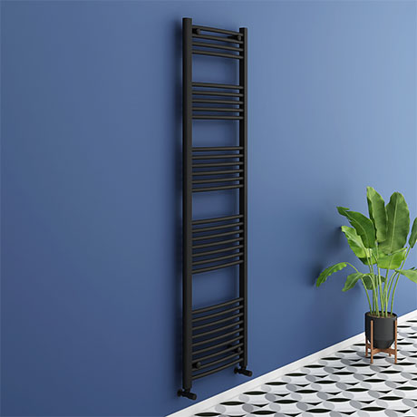 Turin Black Curved W500 x H1800mm Heated Towel Rail