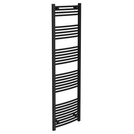 Turin Black Curved W500 x H1800mm Heated Towel Rail