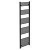 Turin Black W500 x H1800mm Heated Towel Rail profile small image view 1