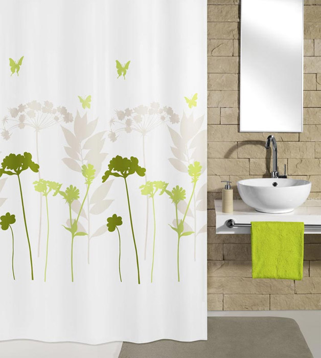 Kleine Wolke Barcelona Green Polyester Shower Curtain (w 1800mm x h 2000mm)