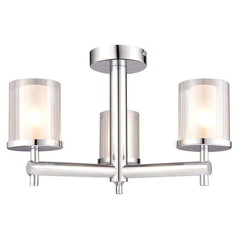 Endon Britton Semi-Flush Bathroom Ceiling Light Fitting Large Image