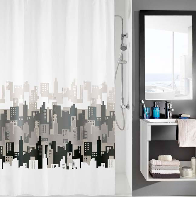 Kleine Wolke - City Polyester Shower Curtain - W1800 x H2000 - Black & White Large Image