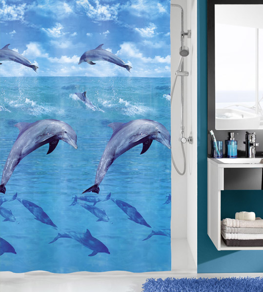 Kleine Wolke - Dolphin PEVA Shower Curtain - W1800 x H2000 - 5201-148-305 profile large image view 1