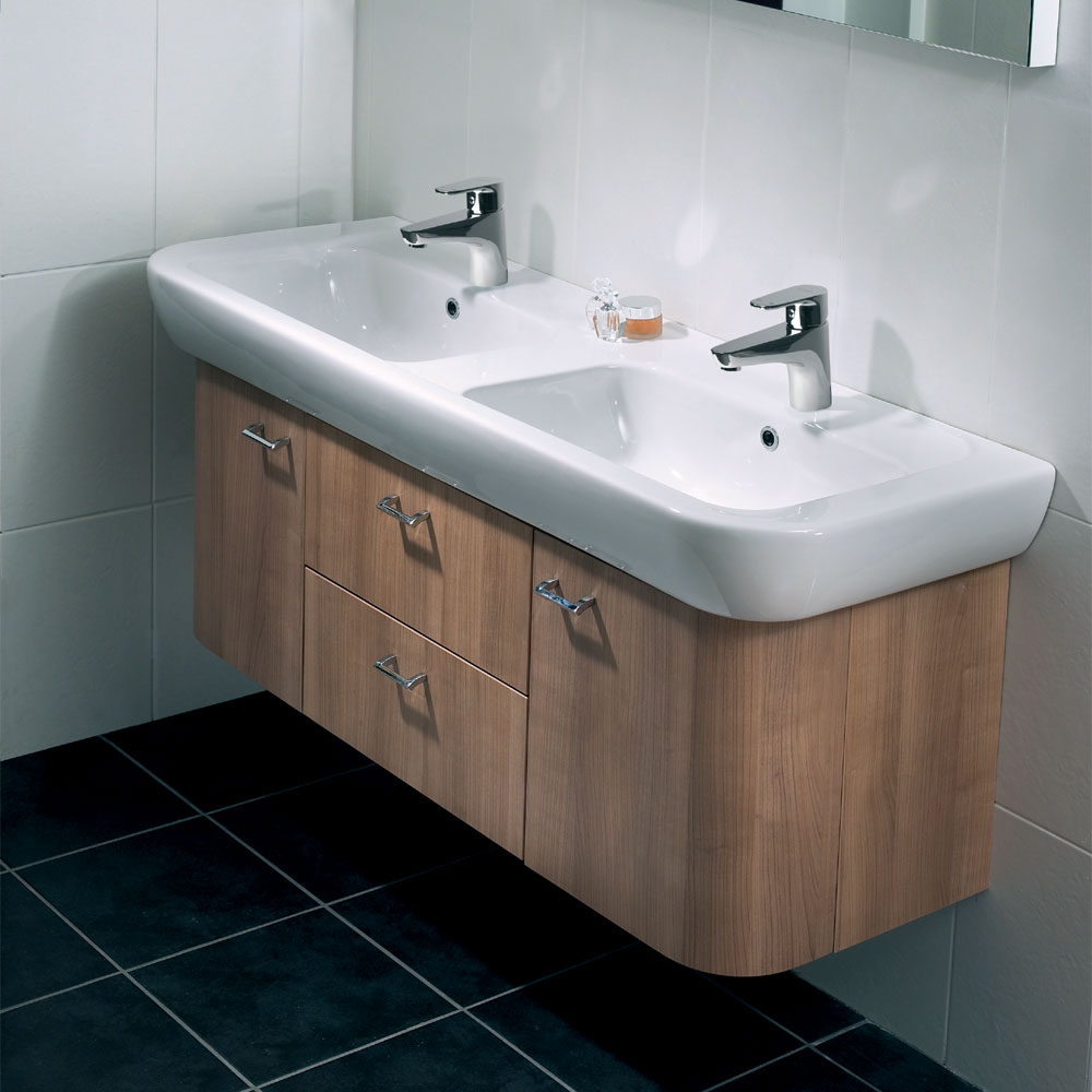 Vitra - Retro Double Basin and Vanity Unit - Various Colour Options Feature Large Image