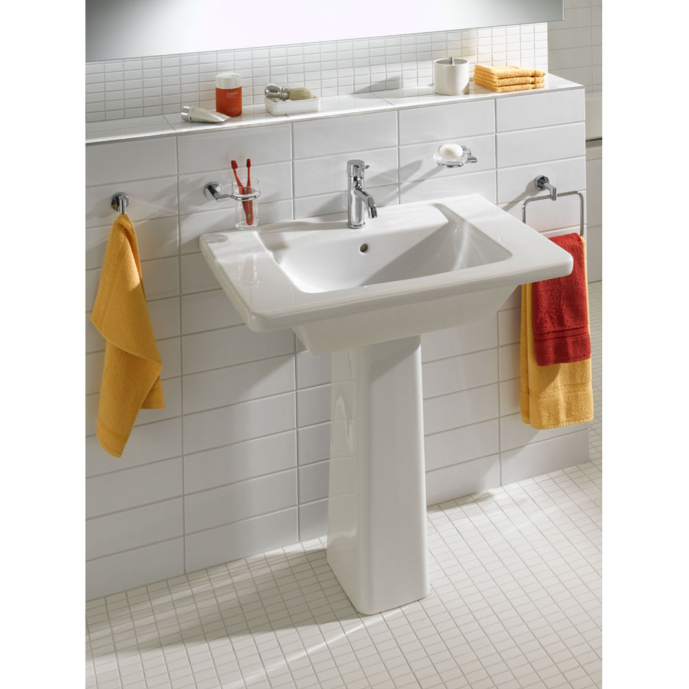 Vitra - Form 300 Basin and Pedestal - 1 Tap Hole - 3 Size Options profile large image view 2