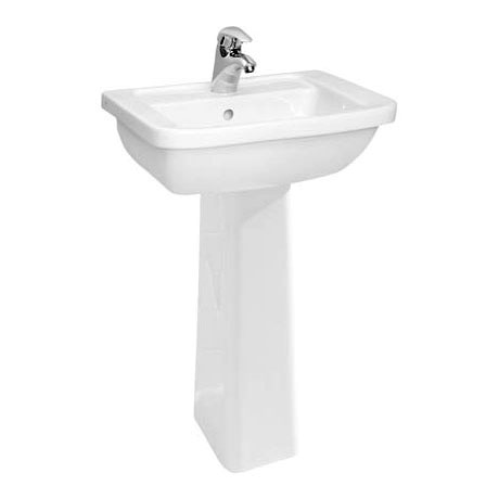 Vitra - Form 300 Basin and Pedestal - 1 Tap Hole - 3 Size Options