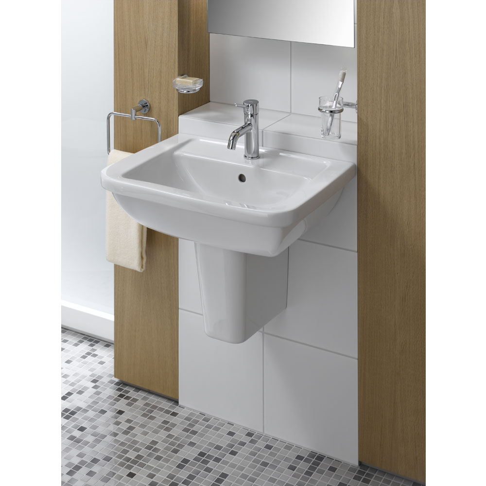 Vitra - Form 300 Basin and Half Pedestal - 1 Tap Hole - 3 Size Options profile large image view 2