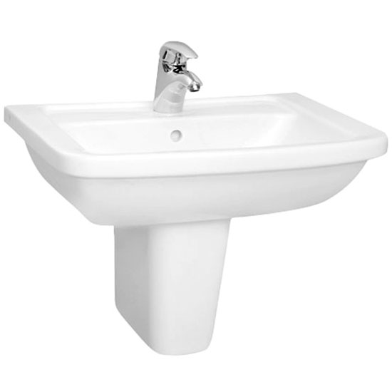 Vitra - Form 300 Basin and Half Pedestal - 1 Tap Hole - 3 Size Options profile large image view 1