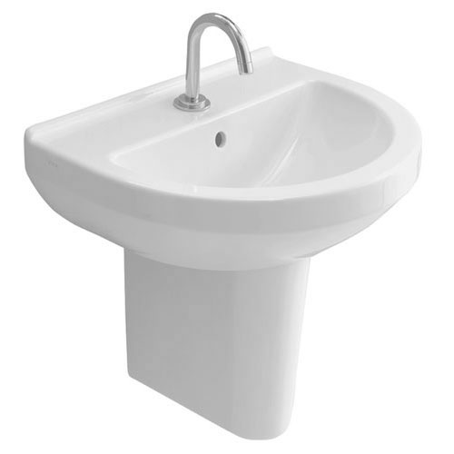 Vitra - S50 45cm Round Cloakroom Basin and Half Pedestal - 1 Tap Hole profile large image view 1