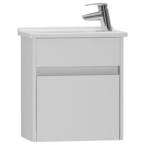 Vitra - S50 Compact Single Door Vanity Unit and Basin - Gloss White - 2 Size Options Large Image