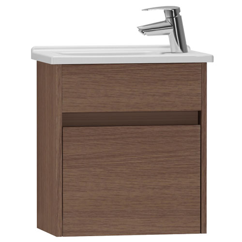 Vitra - S50 Compact Single Door Vanity Unit and Basin - Oak - 2 Size Options Large Image
