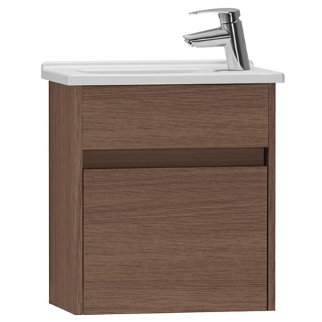 Vitra - S50 Compact Single Door Vanity Unit and Basin - Oak - 2 Size Options
