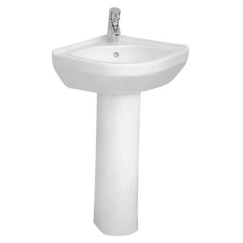 Vitra - S50 Round Corner Basin and Pedestal - 1 Tap Hole profile large image view 1