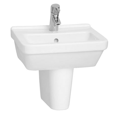 Vitra - S50 45cm Square Cloakroom Basin and Half Pedestal - 1 Tap Hole