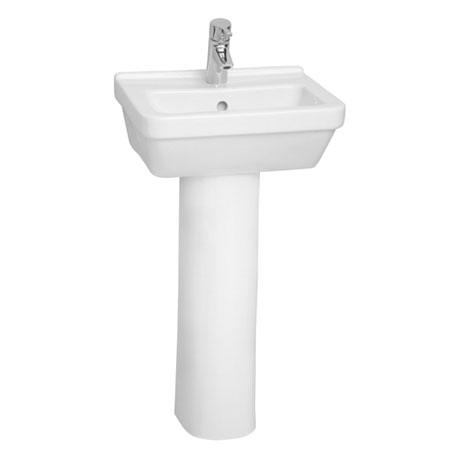 Vitra - S50 45cm Square Cloakroom Basin and Pedestal - 1 Tap Hole