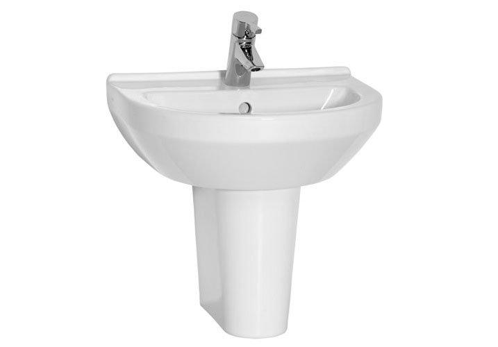 Vitra - S50 Round Washbasin & Half Pedestal - 1 Tap Hole - 4 Size Options Large Image