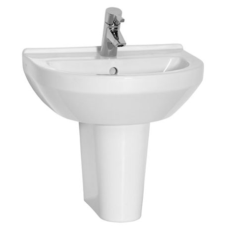 Vitra - S50 Round Washbasin & Half Pedestal - 1 Tap Hole - 4 Size Options