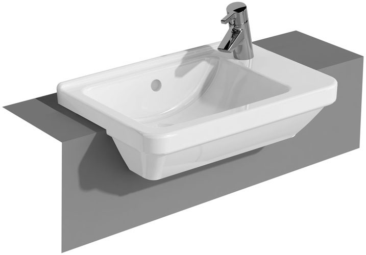 Vitra - S50 Square Compact Semi-Recessed Basin - 1 Tap Hole profile large image view 1