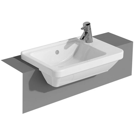 Vitra - S50 Square Compact Semi-Recessed Basin - 1 Tap Hole