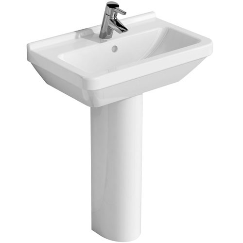 Vitra - S50 Compact Basin and Pedestal - 1 Tap Hole - 2 Size Options profile large image view 1