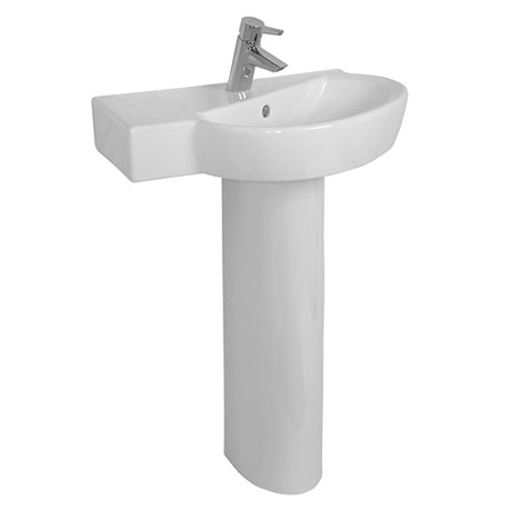 Vitra - Sunrise Offset Corner Basin and Pedestal - Left or Right Hand Tap Hole Option