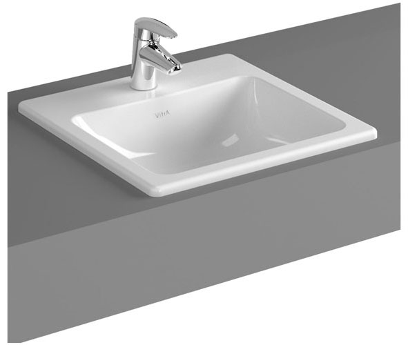Vitra - S20 Inset Square Basin - 1 Tap Hole - 3 Size Options
