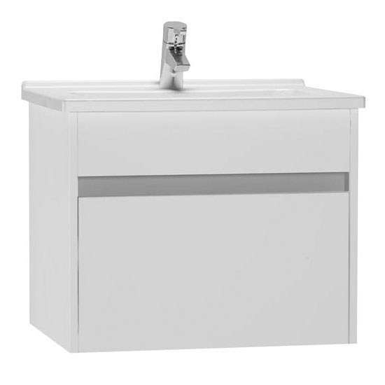 Vitra - Vanity Unit with Drawer and Basin - Gloss White - 4 Size Options Large Image