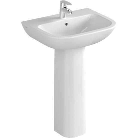 Vitra - S20 Model Washbasin & Pedestal - 1 Tap Hole - 5 x Size Options Large Image
