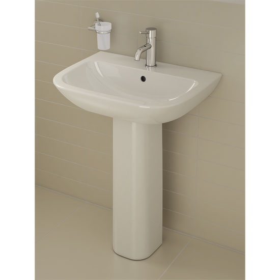 Vitra - S20 Model Washbasin & Pedestal - 2 Tap Hole - 5 x Size Options Profile Large Image