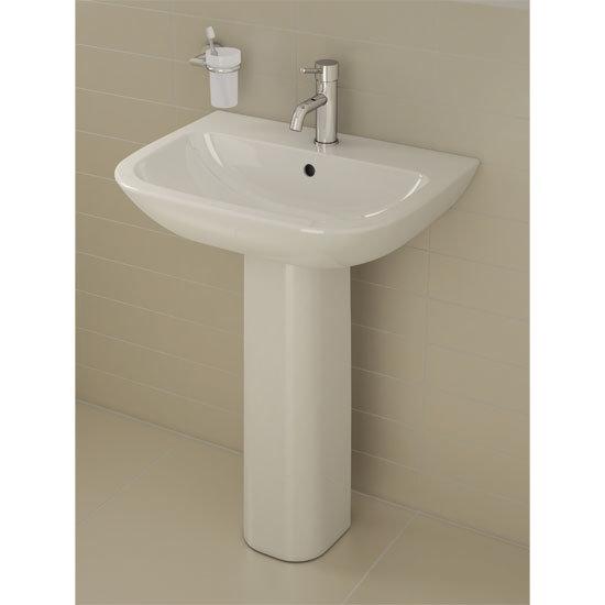 Vitra - S20 Model Washbasin & Pedestal - 1 Tap Hole - 5 x Size Options profile large image view 2