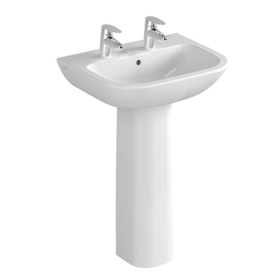 Vitra - S20 Model Washbasin & Pedestal - 2 Tap Hole - 5 x Size Options Large Image