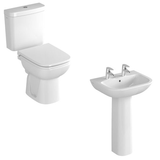 Vitra - S20 Model 4 Piece Suite - Open Back CC Toilet & 60cm Basin - 1 or 2 Tap Holes Profile Large Image