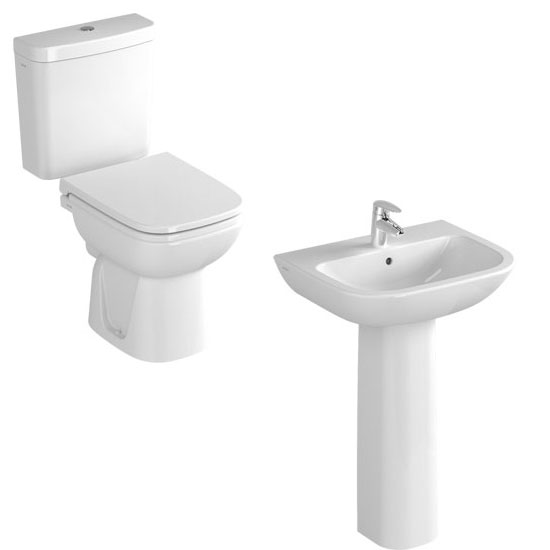 Vitra - S20 Model 4 Piece Suite - Open Back CC Toilet & 60cm Basin - 1 or 2 Tap Holes Large Image