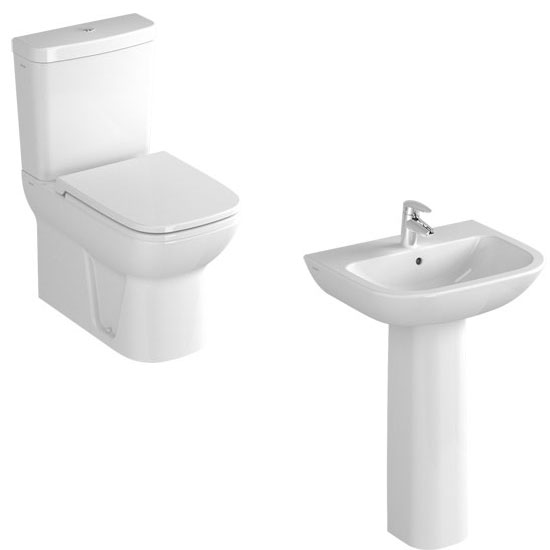 Vitra - S20 Model 4 Piece Suite - Closed Back CC Toilet & 60cm Basin - 1 or 2 Tap Holes profile large image view 1