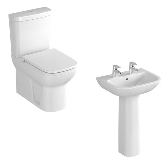 Vitra - S20 Model 4 Piece Suite - Closed Back CC Toilet & 60cm Basin - 1 or 2 Tap Holes profile large image view 2