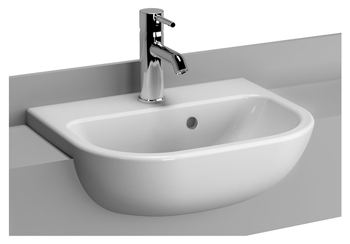 Vitra - S20 45cm Short Projection Semi-Recessed Basin - 1 Tap Hole Large Image