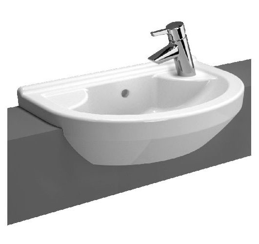 Vitra - S50 Round Compact Semi-Recessed Basin - Left or Right Hand Tap Hole Option Large Image