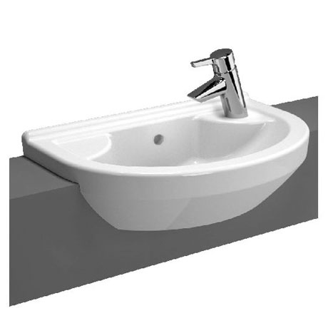 Vitra - S50 Round Compact Semi-Recessed Basin - Left or Right Hand Tap Hole Option
