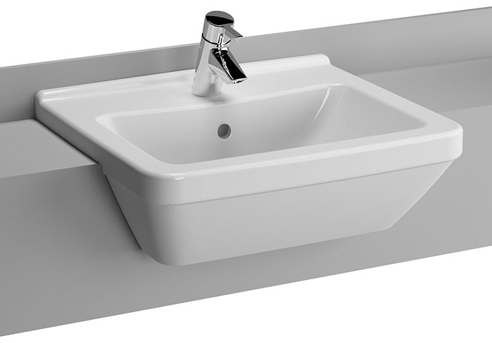 Vitra - S50 Square Semi-Recessed Basin - 1 Tap Hole profile large image view 1