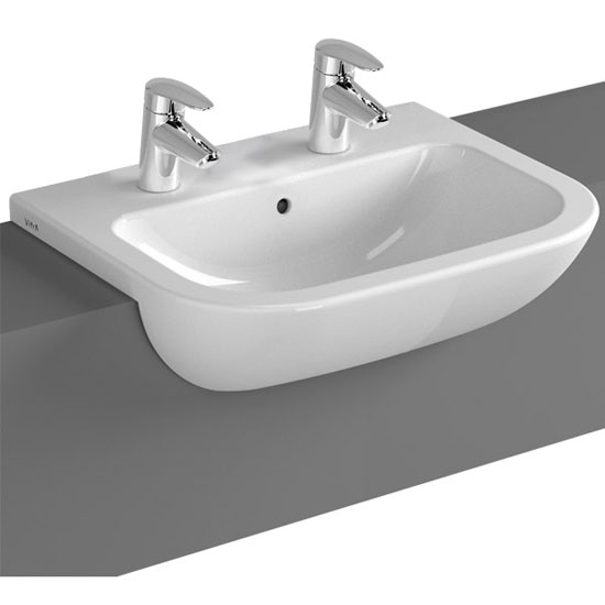 Vitra - S20 Model 55cm Semi-Recessed Wash Basins - 1 or 2 Tap Hole Profile Large Image