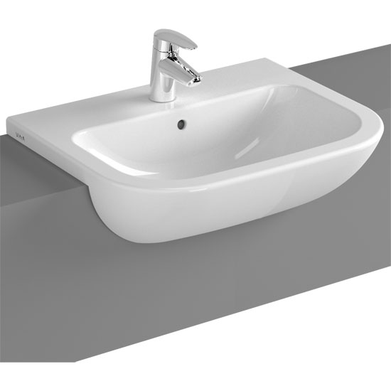 Vitra - S20 Model 55cm Semi-Recessed Wash Basins - 1 or 2 Tap Hole Large Image