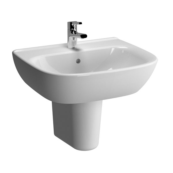 Vitra - Zentrum Basin and Half Pedestal - 1 Tap Hole - 4 x Size Options Large Image