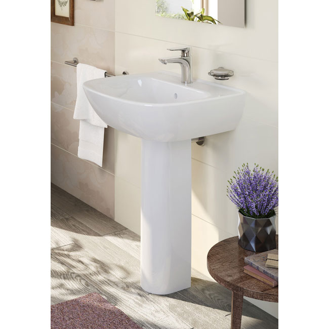 Vitra - Zentrum Basin and Pedestal - 1 Tap Hole - 4 x Size Options profile large image view 2