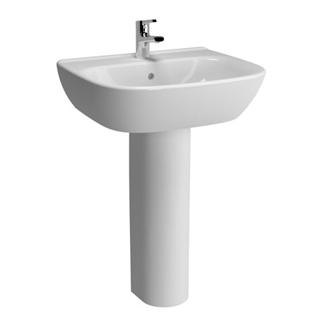 Vitra - Zentrum Basin and Pedestal - 1 Tap Hole - 4 x Size Options
