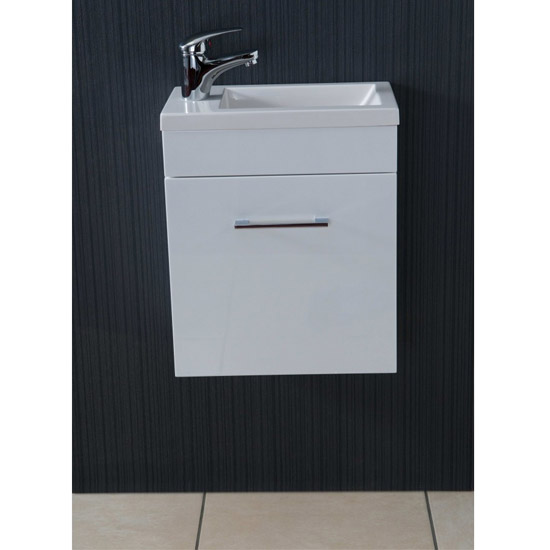Kobe Cloakroom Wall Mounted Unit with Resin Basin W400 x D250mm - Gloss White Profile Large Image