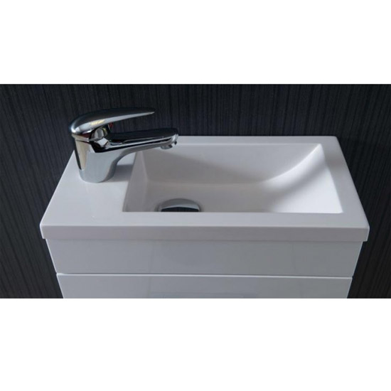 Kobe Cloakroom Wall Mounted Unit with Resin Basin W400 x D250mm - Gloss White Feature Large Image