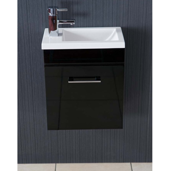 Kobe Cloakroom Wall Mounted Unit with Resin Basin W400 x D250mm - Gloss Black Profile Large Image