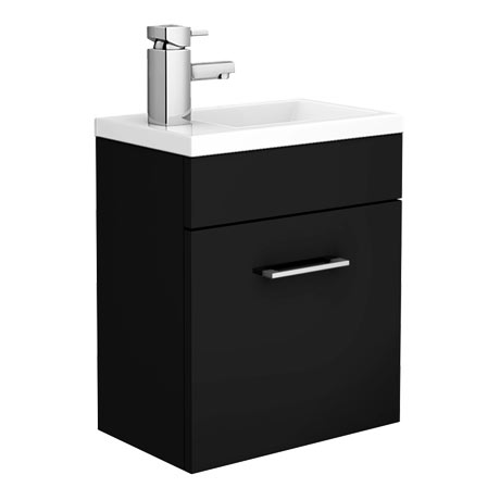 Kobe Cloakroom Wall Mounted Unit with Resin Basin W400 x D250mm - Gloss Black