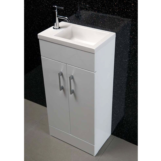 Kobe Cloakroom Floor Standing Unit with Resin Basin W400 x D250mm - Gloss White Profile Large Image