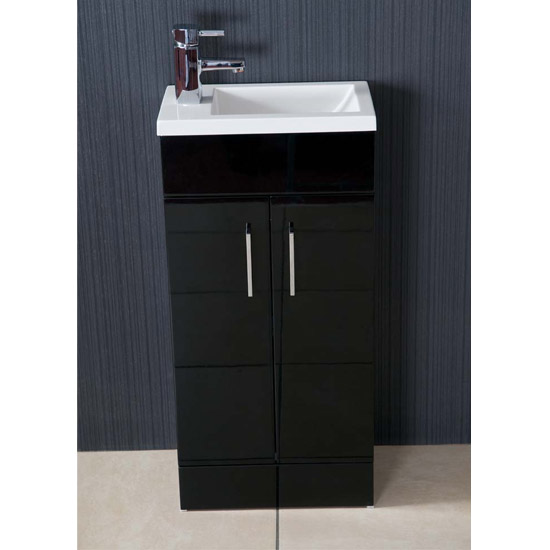 Kobe Cloakroom Floor Standing Unit with Resin Basin W400 x D250mm - Gloss Black Profile Large Image
